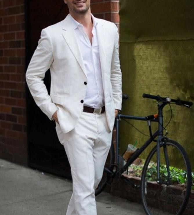 最新コートパンツデザインアイボリー/白カジュアル男性スーツタキシードシンプルなカスタムメイド 2 個 (ジャケット + パンツ)