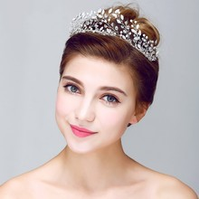 Handmade Crystal Princess Tiara Crown Silver Wedding Hair Accessories Bridal Headband Rhinestone Women Tiaras