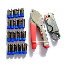 20 PCS RG6 Compression f Connector with RG59(4C) RG6(5C) connector compression crimping Tool Coax Cable Wire Stripper Kit