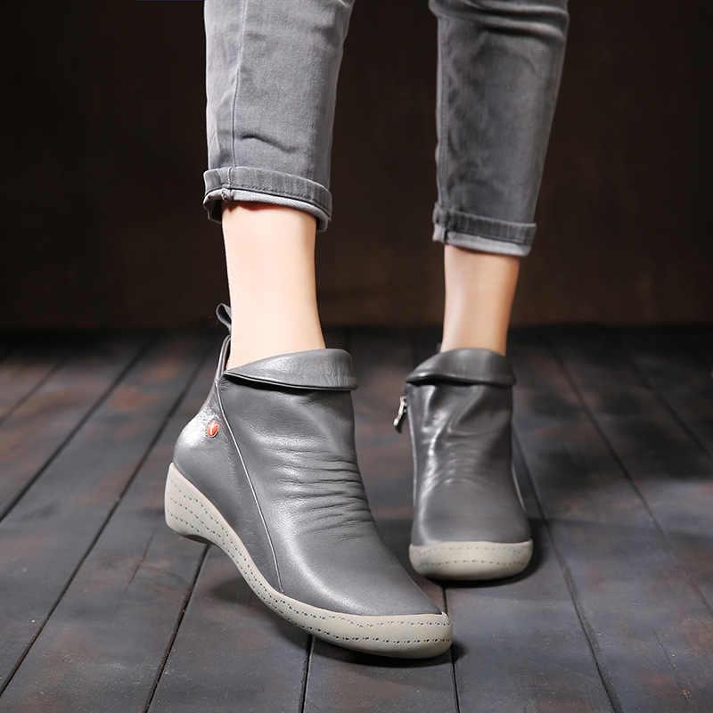 VALLU 2018 Yeni Sonbahar Kış Hakiki deri ayakkabı Kadın Botları Pilili Düşük Topuk Inek Derisi yarım çizmeler