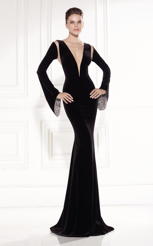 2015 Collection Saudi Arabia Black Velvet Long Sleeve Mermaid Prom ...