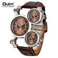 Mens Relojes de Primeras Marcas de Lujo Famoso Tag hombres Reloj 3 Zona Horaria Militar Impermeable de Los Hombres Reloj de Cuarzo Reloj de Cuero hombre