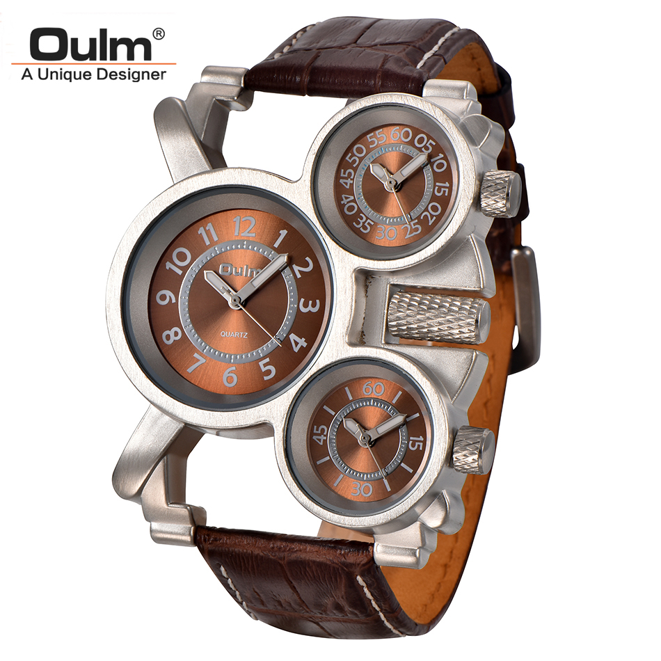 цены Oulm Mens Watches Top Brand Luxury Famous Tag Men's Military Wrist Watch 3 Time Zone Male Clock Leather Quartz Watch Man