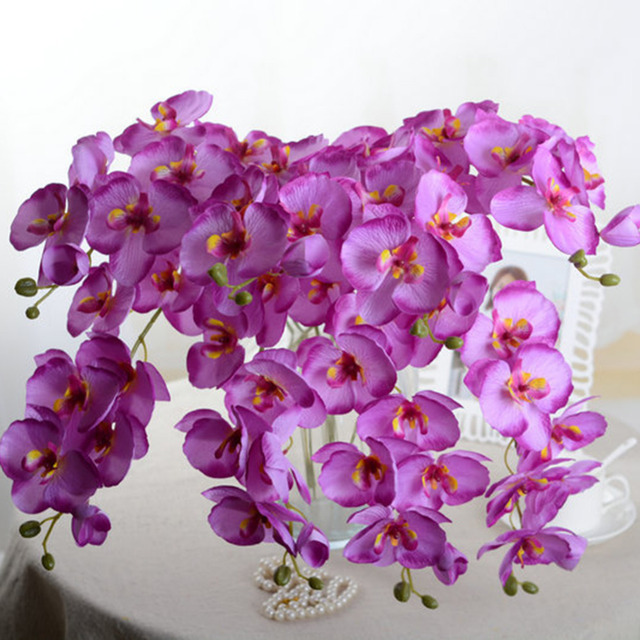 Orchid Artificial Flowers +Vase DIY Artificial Butterfly Orchid Silk ...