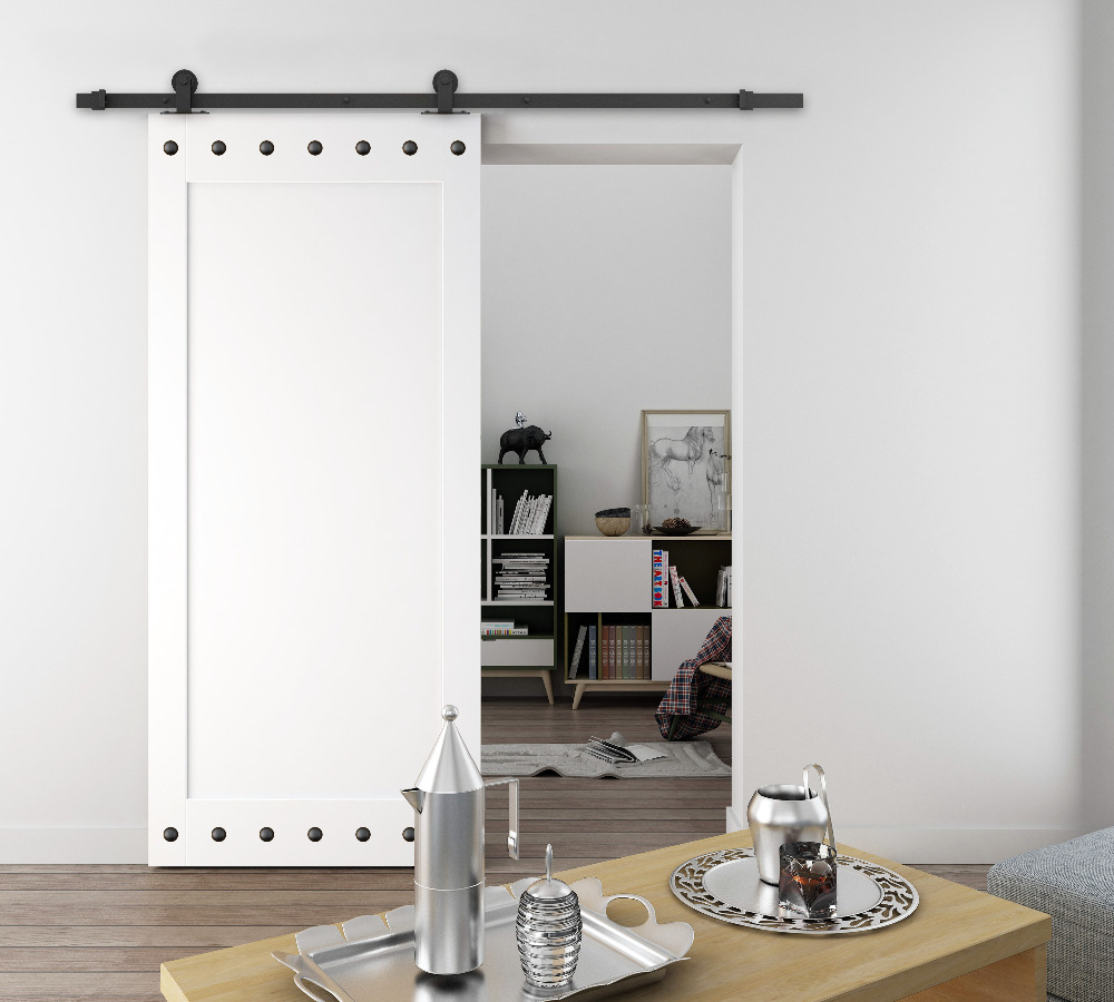 DIYHD 5ft-8ft Top Mount Rustic Black Sliding Barn Door Hardware Easy Install Barn Door Sliding Track Kit diyhd 39 wooden cabinet sliding barn door hardware mini barn door track kit to hang 1 door