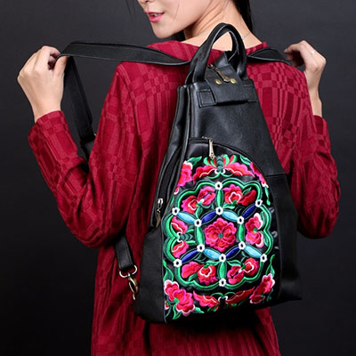 XIYUAN BRAND Genuine leather backpack women embroidery vintage small backpacks for teenage girls mochilas mujer back pack
