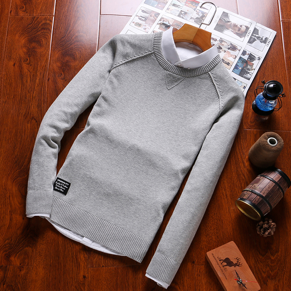2019 New Fashion Sweaters Men Fashion Style Autumn Winter Patchwork Knitted Quality Pullover Men O-neck Casual Men Sweater B0278