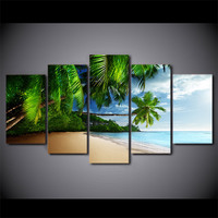 5 Pcs Canvas HD Printed Coconut Trees Beach Poster Frame Painting Modular Wall Art Pictures Living Room Quadro Decorativo