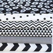 24 × 25 センチメートル 6 ブラック & ドット波プリント綿 100% 生地バンドル diy の縫製人形布