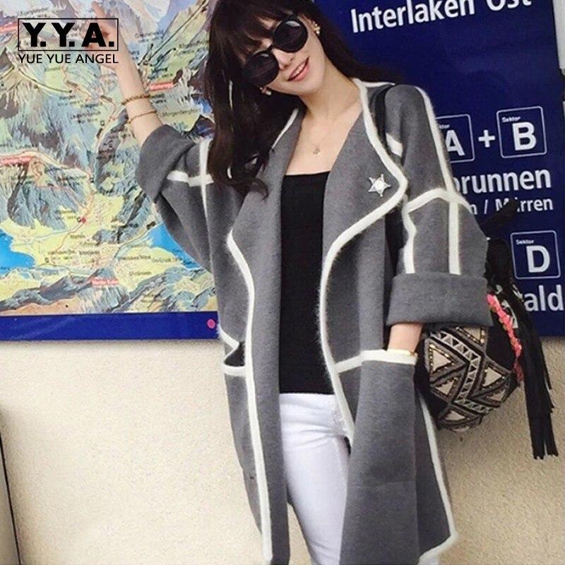 Nový příchod podzimní móda dámské svetr kapsy elegantní velké klopě Poncho Cashmere kabát oblečení pro ženy doprava zdarma