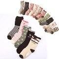 W092 Envío Libre 4-12 años de edad, niña de algodón puro calcetines de los estudiantes niño calcetines cereza flores párrafo 10 pares de grupo