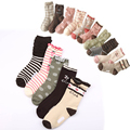 w092 Free shipping 4-12 year-old girl pure cotton socks child students socks cherry flowers paragraph 10 pairs of group