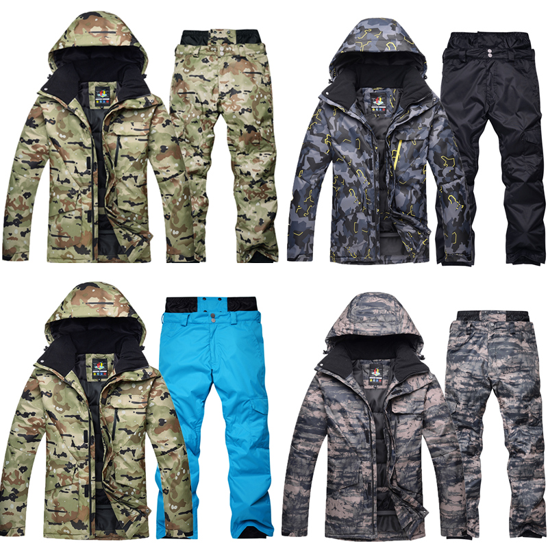 Сноубординг мужская куртка + брюки наборы водостойкий ветрозащитный лыжный костюм Альпинизм термальная зимняя уличная камуфляжная зимняя ...