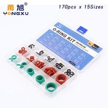купить 170pcs Mixed Red Silicon Green FKM NBR O Ring Silicone Rubber O-ring Set Seal 15Sizes Gasket Ring Assortment Set Kit Box дешево