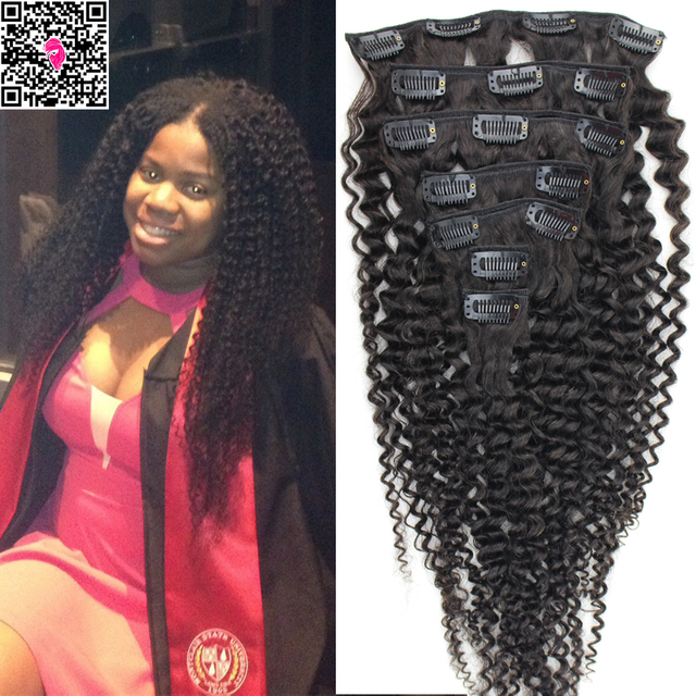 Afro Kinky Curly Clip In Human Hair Extensions 120g Remy Virgin