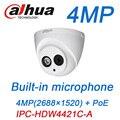 Dahua 4mp câmera h.265 ip poe microfone embutido ipc-hdw4431c-a ir de segurança cctv câmera dome onvif hdw4431c-a firmware inglês