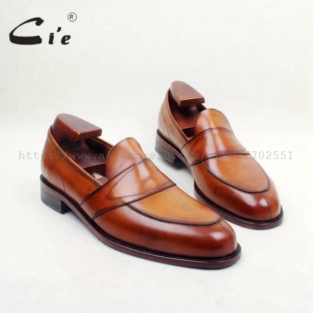 Cie Gratis Verzending Ronde Toe100 % Lederen Zool Bespoke Cement Craft Handgemaakte Bruin Slip op mannen platte schoen loafer 162