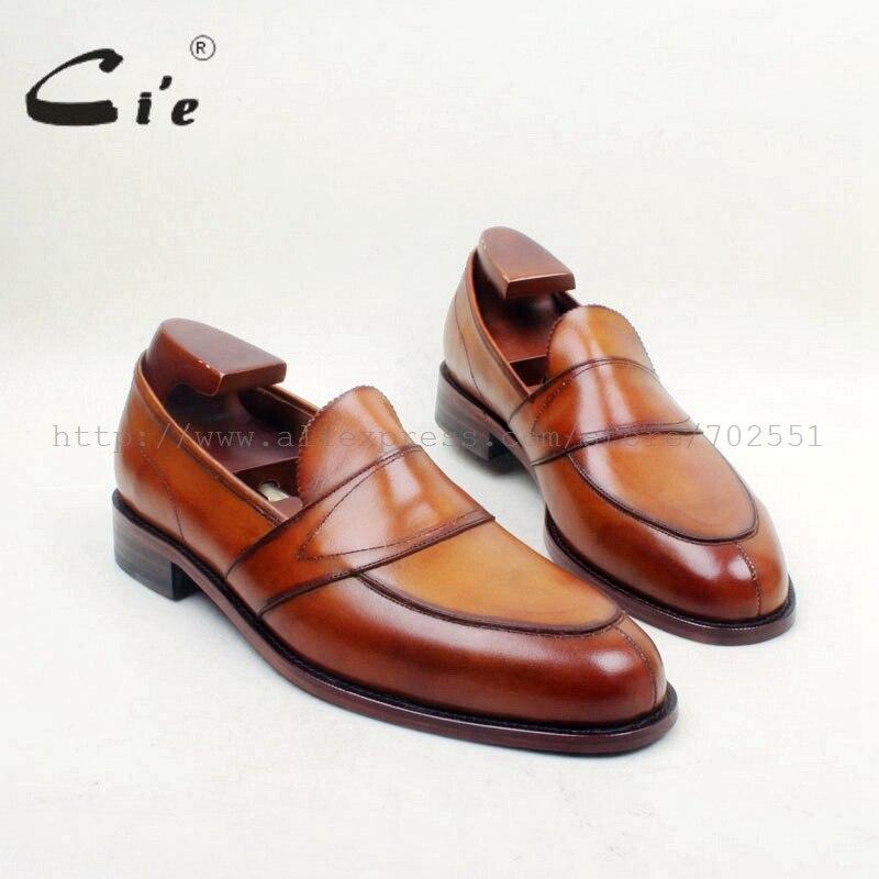 Cie livraison gratuite ronde Toe100 % en cuir véritable semelle extérieure sur mesure ciment artisanat fait à la main marron sans lacet hommes chaussures plates mocassins 162