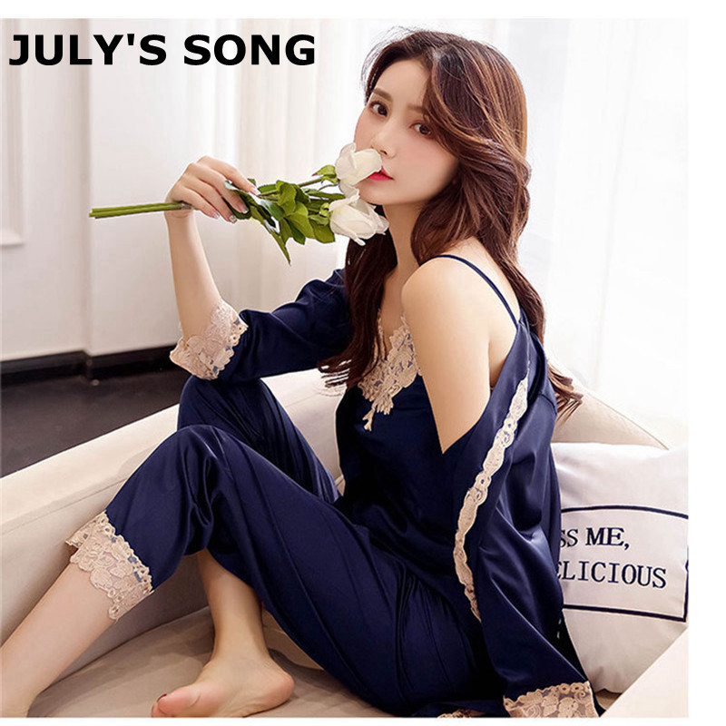 JULY'S SONG 3 Peice Woman Autumn Winter   Pajamas     Set   Sexy Lace Sling Satin Silk   Pajamas   Sleepwear For Women Long Sleeves Homewear