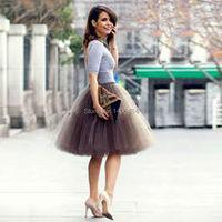 Tulle Skirts Womens Adults Skirt Ball Gown Knee Length Saia Bridal Bridesmaid Skirt Wedding Dress Petticoat
