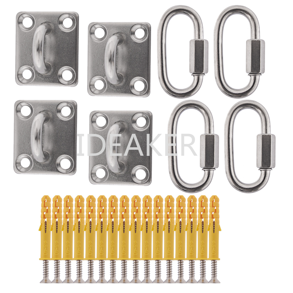 3PCS 304 Stainless Steel Square Shade Sail Hardware Kit M6 Pad Eyes Quick Link Chain Carabiner Self-tapping Screws Sunsail