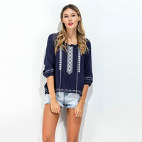 Bohemian Summer Blouses 2017 Floral Embroidered Shirts Blusa Tassel Three Quarter Sleeve Loose Split Hem Ethnic