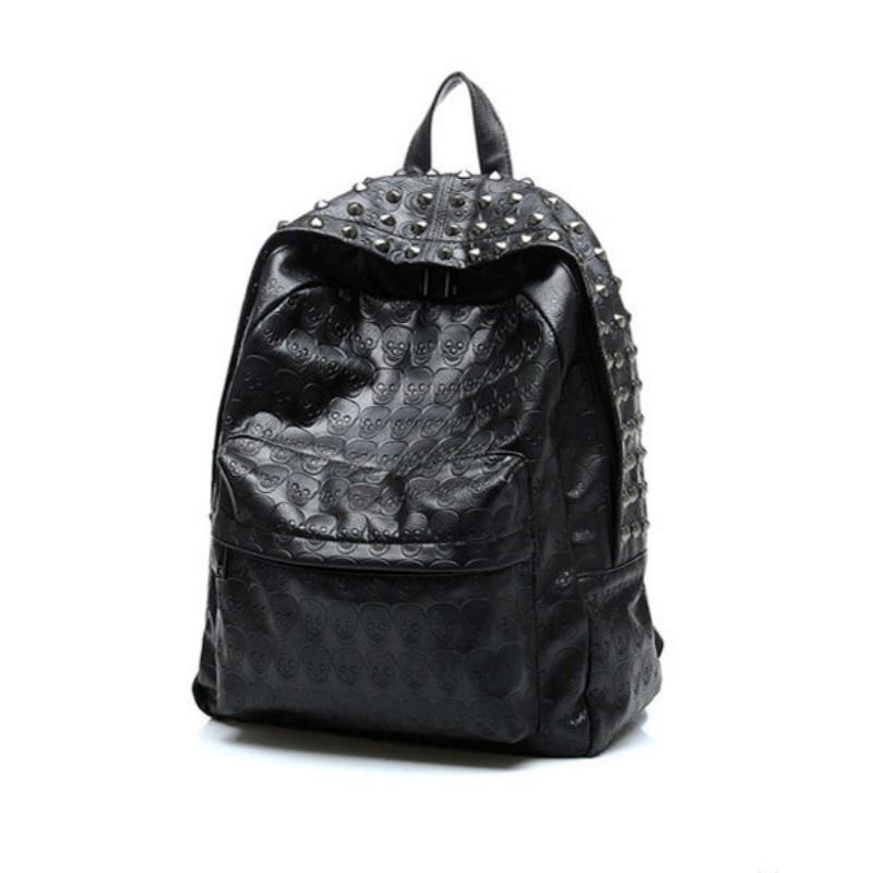 Dernière mode femmes Punk Rock Rivet Pu cuir rue voyage bureau Shopping noir Double sac à bandoulière sac à dos dame cadeau