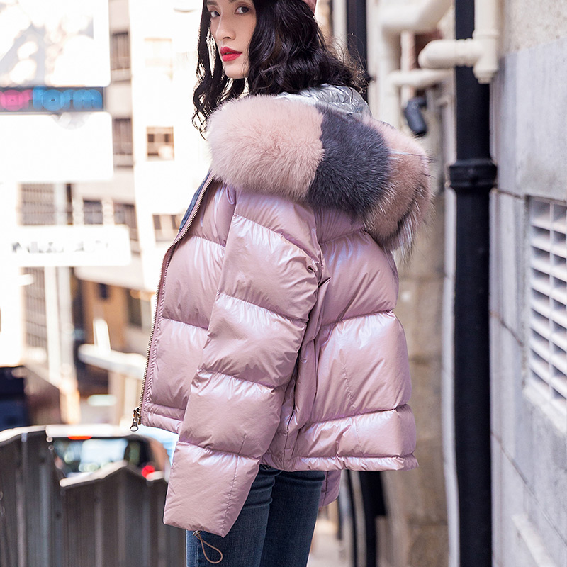Women White Duck   Down   Winter Jacket 2019 Big Natural Fox Fur Collar Hooded Double Sided Short Glossy Shiny   Coats   Real Fur Parkas