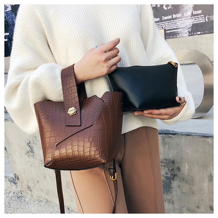 Vintage Tote Bucket bag PU Leather Handbag Alligator Pattern Shoulder Bag