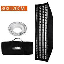 Софтбокс Godox 30x120 см сотовая сетка полоса Bowens крепление софтбокс для фотостудии стробоскоп вспышка светильник DE300 SK400II DE400 DE400II