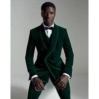Green Velvet Mens Dinner Party Prom Casual Suit (Jacket+Pant+Vest+Tie) Groom Tuxedos Groomsmen Wedding Blazer Suits For Men