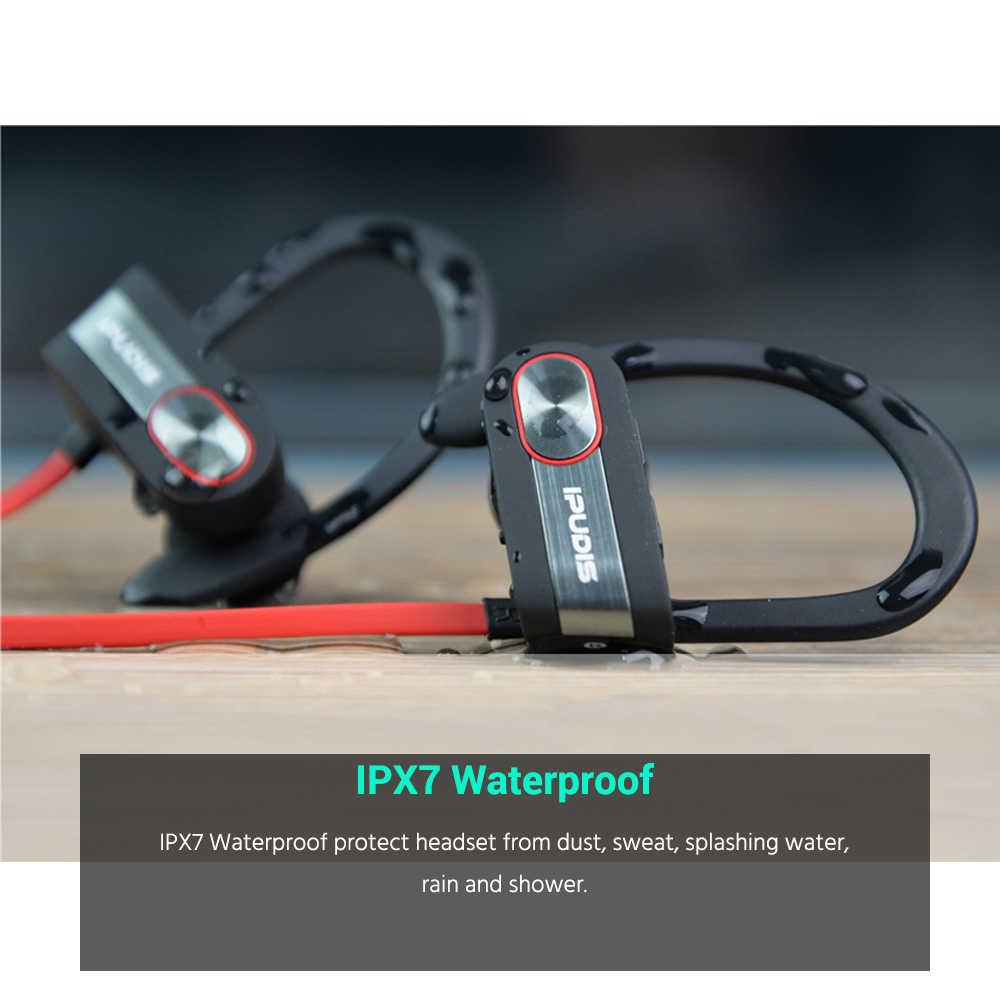 IPUDIS 1-rok gwarancji sportowe słuchawki bluetooth IPX7 wodoodporne słuchawki zaczep na ucho zestaw słuchawkowy bezprzewodowe słuchawki douszne z mikrofonem 110mAh
