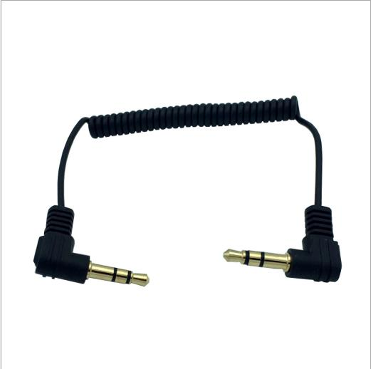Wire diameter 1 5mm 90° bend Gold plated DC3 5 3 level male to male audio spring elastic line 0 6 m car audio headset MP3 MP4 in Computer Cables Connectors from Computer Office