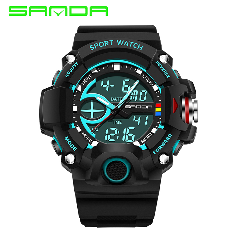 SANDA Merk Herenhorloges G-stijl Digital LED Militair Sport Horloge - Herenhorloges