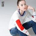Toyouth 2017 chegada nova t-shirt mulheres outono algodão ocasional longa carta patchwork o pescoço top