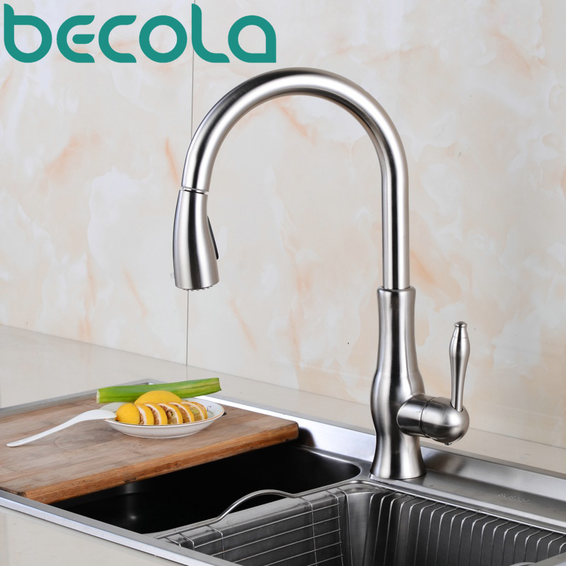 US $86.71 |becola pull down spray kitchen faucet mixer taps brushed nickel  kitchen tap brass sink mixer B 8106-in Kitchen Faucets from Home ...