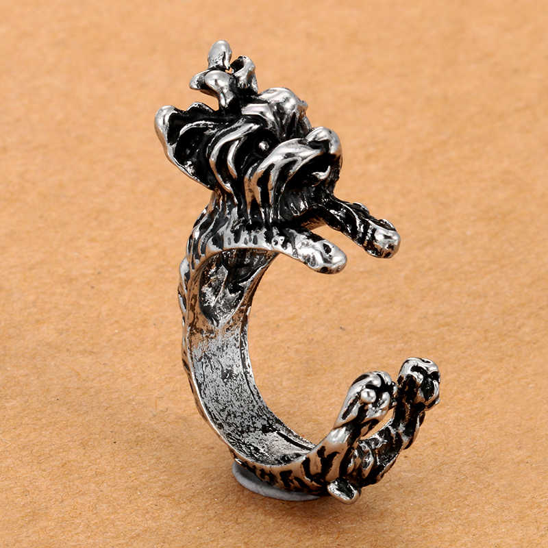 New Fashion 3 color Vintage Antique Poodle Chic Dog open size Ring Cute Animal Ring factory Price Women  Jewelry