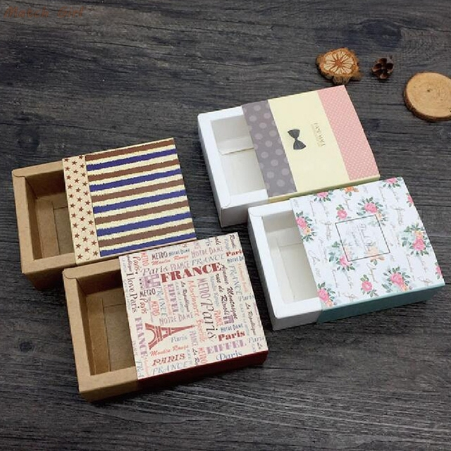 20pcs Small Drawer Shape Gift Handmade Soap Packaging Paper Boxes Kraft Lipstick Perfume Packaging Box Candy Craft Boxes