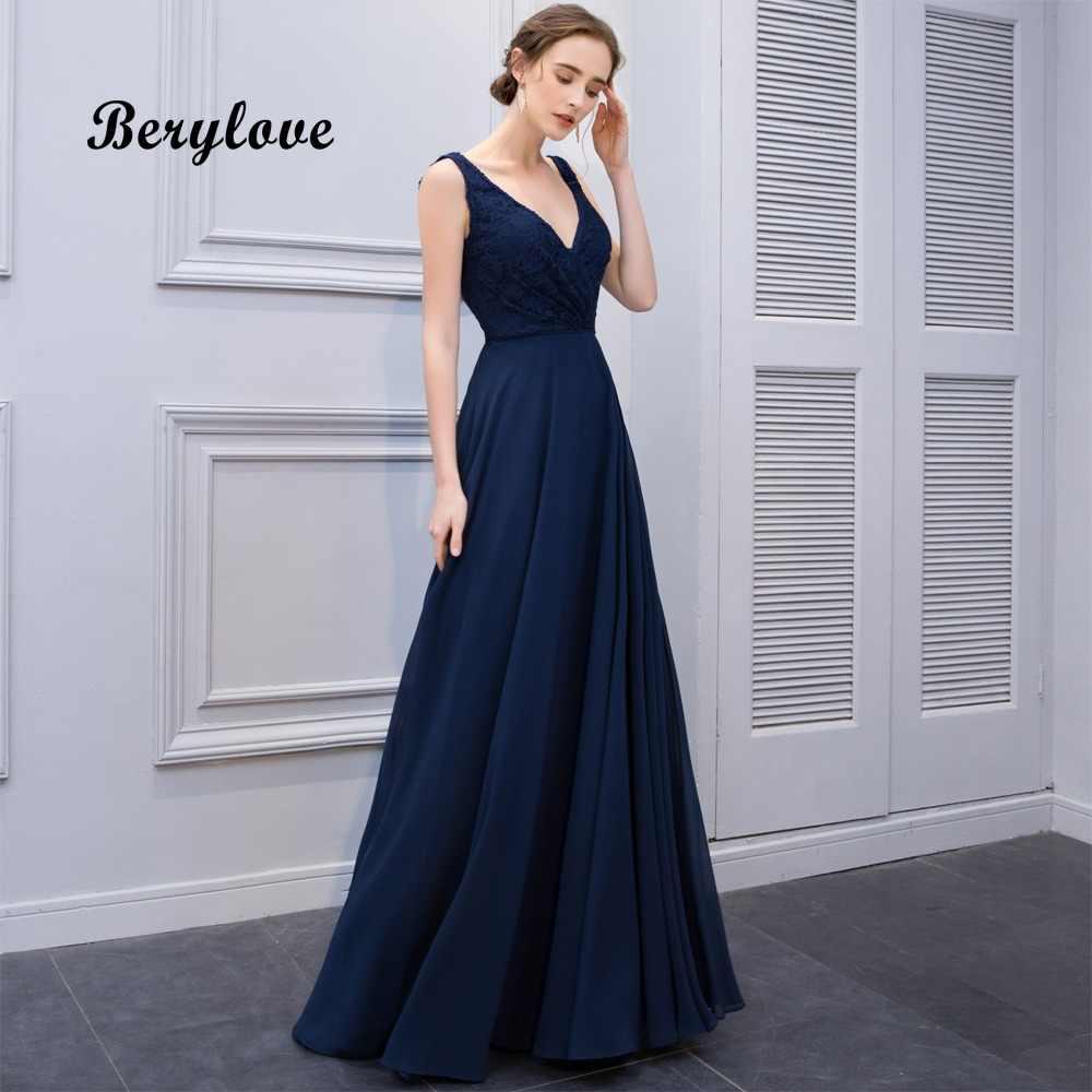 BeryLove Long Navy Blue Evening Dresses 2018 V Neck Lace Evening Dress  Styles Cheap Formal Party 74361d9ce539