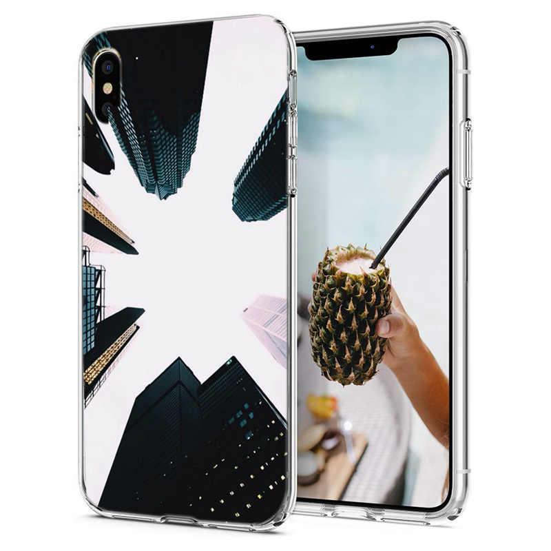 Покрытие ТПУ цветок лист печати чехол для iPhone X XS XR Max гальванических листьев Прозрачный чехол для iPhone X 7 8 6 6 S Plus M137