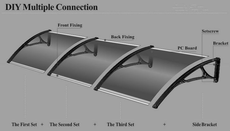 DS80200,80X200cm,easy to install freesky polycarbonate awning