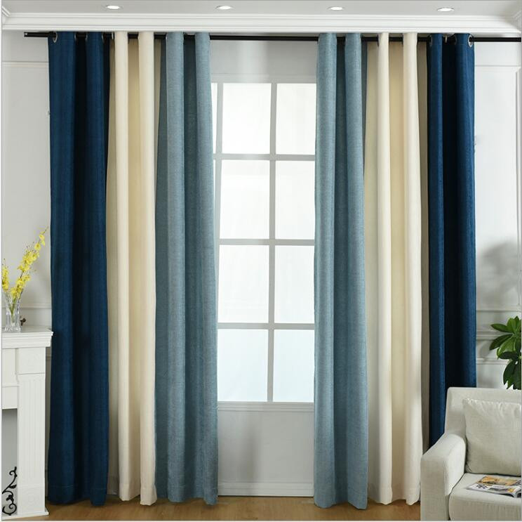 Blue Striped Blackout Curtains For Living Room Brown Stitching