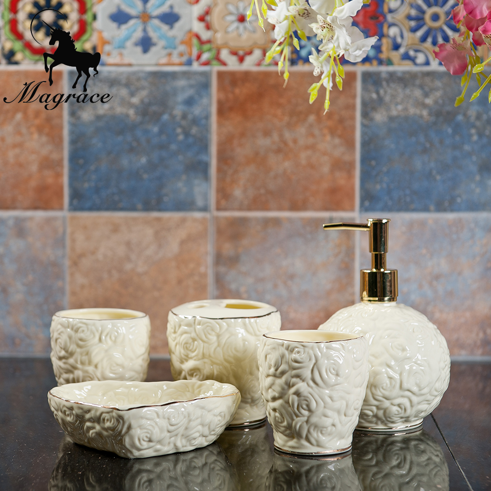 wedding supply lovely rose bathroom set 5pcs ceramic bath accessories toothpaste toothbrush holder soap emulsion bottle