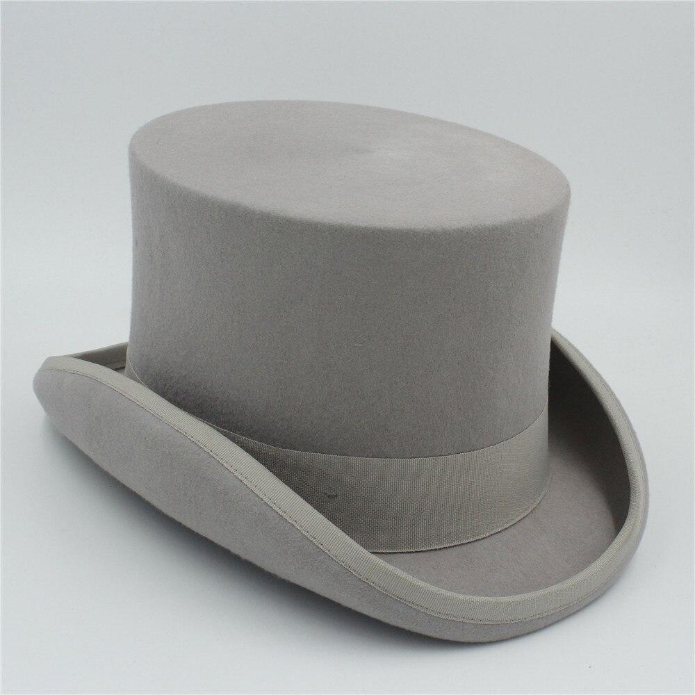 ed70717aaa US $29.9 25% OFF 15cm(5.89inch) 100% Wool Sherlock Holmes Steampunk Hat  Women Men Fedora President Magic Top Hat Black Grey Red White -in Men's ...