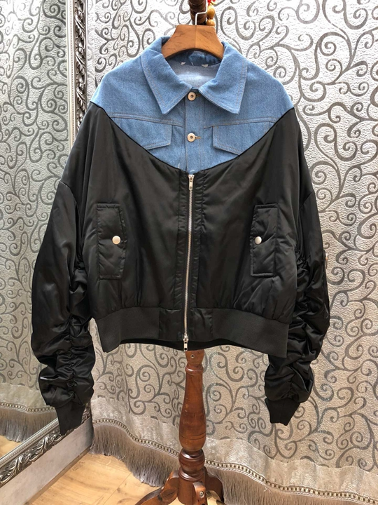 Décoration Automne Coat0930 Court Jeans Rides Poche Glissière Revers Hiver À 2018 Noir Symétrique Correspondant Couleur wAxqXaXd