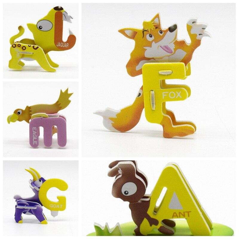 18 шт./lotDIY 3D головоломка сборки мультфильм Животные игрушка для детей развивающие игрушки подарок Алфавит Бумага письма головоломки