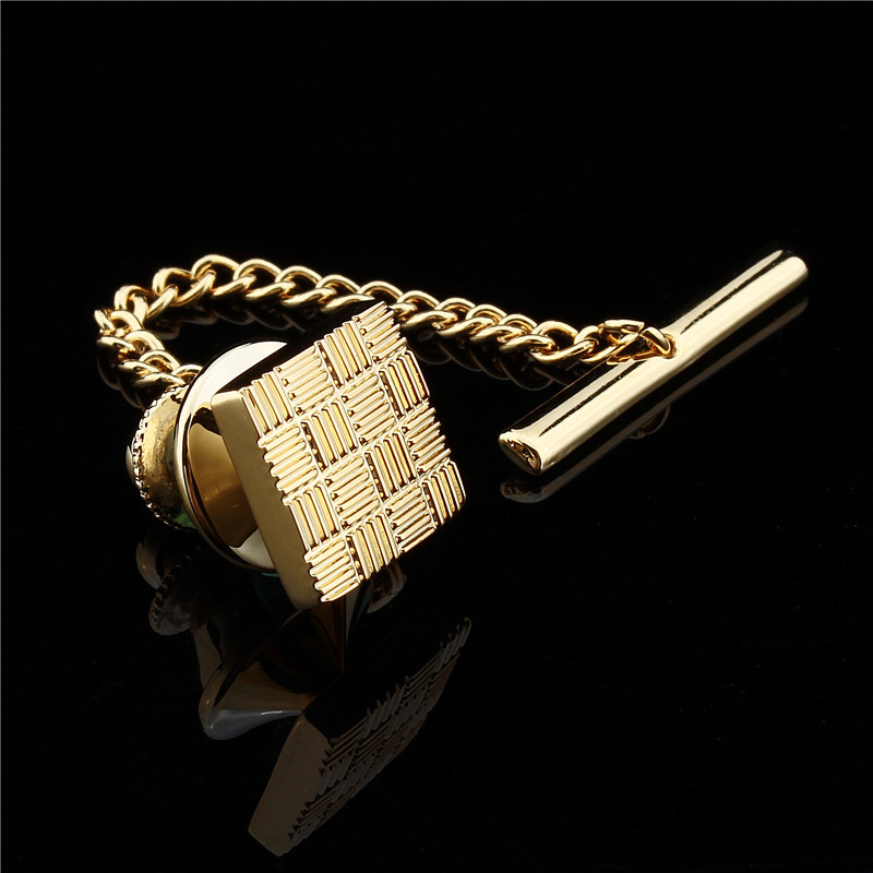 HAWSON Classic Metal Clutch Pin Backs Tie Pin Golden Square Tie Tack With Chain Free Shipping
