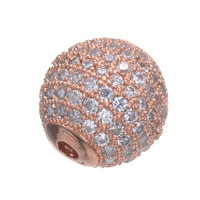 New Trendy Jewelry Copper Full Zircon Round Beads For Bracelets Wholesale European Micro Pave Charms Bead