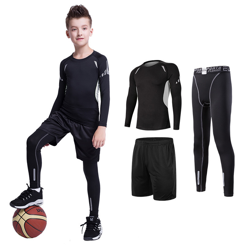 Kids Sports Suit Compression Jersey+Pants Children Boxing Rashguard Running Basketball Tight Trousers Teenagers MMA Sportswear