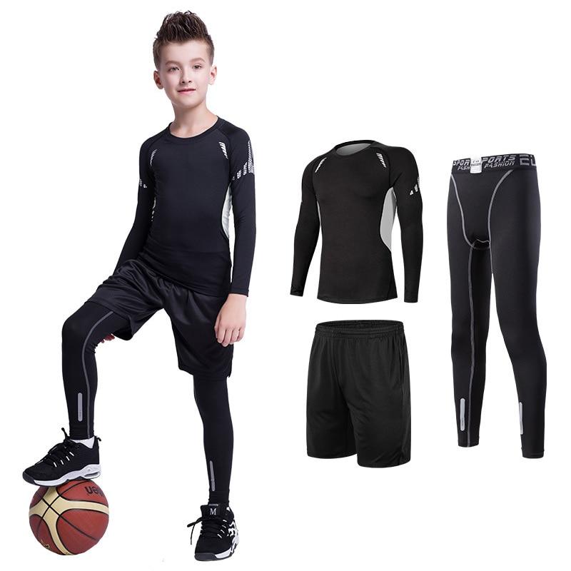 Kids Sports Suit Compression Jersey+Pants Children Boxing Rashguard Running Basketball Tight Trousers Teenagers MMA Sportswear